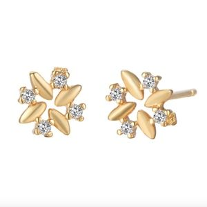 Delicate Crystal & Gold Floral Stud Earrings